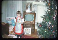Little Girl Christmas Morning 1950s Vintage 35mm Red Border Kodachrome Slide