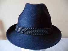 Herren-Wollhut,dunkelblau-meliert mit 5fach Kordel, Größe 54, 55, 57, 60, 61