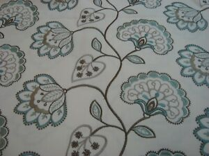 "1.7 yds Embroidered Drapery Fabric Jacobean Floral Spa green brown 54"" x 62"" BTP"