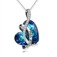 I LOVE YOU 925 Sterling Silver Blue Austrian Elemental Crystal Heart Necklace