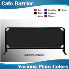 2m wide Black Round Tube Cafe Barrier Coffee Barrier with Plain Colour Banner