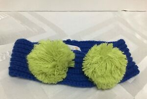 GYMBOREE GIRLS EAR WARMER BLUE WITH TWO LIME POM POMS  ONE SIZE