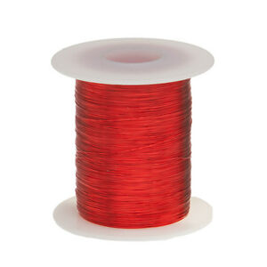 "30 AWG Gauge Enameled Copper Magnet Wire 2 oz 402' Length 0.0108"" 155C Red"