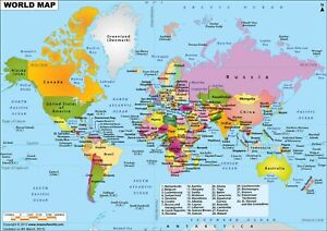 World Map High Detailed A3 or A4 poster prints High Quality choose your sizes
