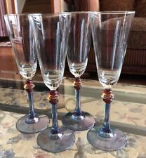4 Vintage Cerve Clear Crystal Stemware Blue Gold Amber Ball Stem Made In Italy