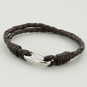 Brown Unisex real Leather Braided Wristband Bracelet Stainless Steel Clasp 3mm