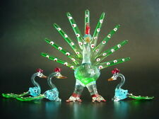 Decorative Glass PEACOCK FAMILY Green Glass Animals BIRDS Curio Glass Ornaments