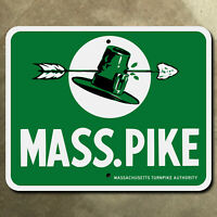 Massachusetts Turnpike Mass Pike highway marker road sign arrow hat pilgrim 1957