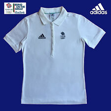 ADIDAS TEAM GB RIO 2016 ELITE ATHLETE LADIES WHITE COTTON POLO SHIRT Size 10