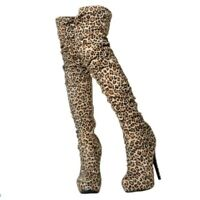 Lady Round Toe High Stiletto Heel Shoes Over Knee Thigh Boots Leopard Nightclub