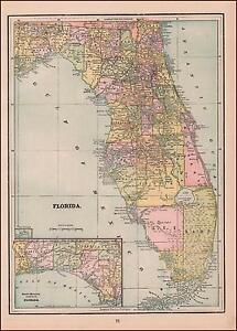 FLORIDA, ANTIQUE MAP, ORIGINAL 1891