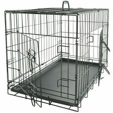 """New listing Black 48"""" 2 Door Pet Cage Folding Dog w/Divider Cat Crate Cage Kennel w/Tray"""