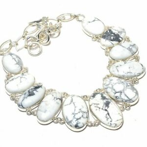 """American Howlite Gemstone 925 Sterling Silver Necklace Jewelry 17.99"""" S2614"""