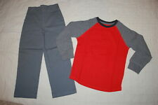 Boys Outfit Orange & Gray L/S Waffle Knit Shirt Gray Woven Casual Pants Size 5