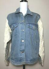 YOU Made in Korea Women Denim Jean Button Down Jacket Wool Sleeve
