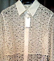 $4,695 COUTURE ALEXANDER MCQUEEN SILK BRODERIE ANGLAISE LACE JACKET SHIRT BLOUSE
