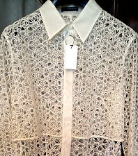 690aff1bcd4940 695 Couture Alexander McQueen Silk Broderie Anglaise Lace Jacket Shirt  Blouse