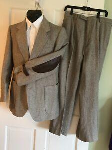 Vtg Bespoke  Herringbone Tweed Wool Suit Elbow Patch 42R jacket  34R pants EEUC
