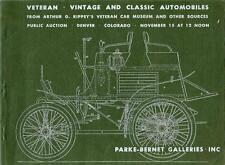 PARKE-BERNET GALLERIES Vintage Classic Automobiles Auction Catalog 1966 Denver