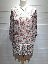 Papaya Top/Tunic~Size 12 ~ Beige Floral ~ 3/4 Sleeve ~ Casual Party Wedding