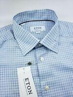 Eton Contemporary Fit Gingham Check Blue Dress Shirt Medium 15.5 - 40 $260