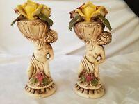 Capodimonte Italy Two Boys Cherubs Carrying Flower Basket Roses Vintage Pair