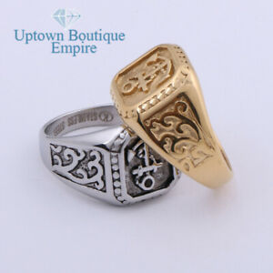 Men's Stainless Steel Navy Marine Biker Anchor Square Pinky Ring Size 8-13*68
