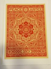 Shepard Fairey Peace And Justice Ornament2012 Numbered OBEY Print Poster 13 X 19