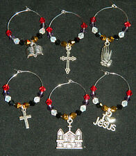 Wine Glass Charms : 6 Colored Crystal Silver Easter Christian Drink Markers Set