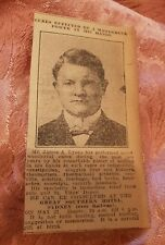 James A Lyons Healing Hands at the Great Southern Hotel 1923 Newspaper Clipping