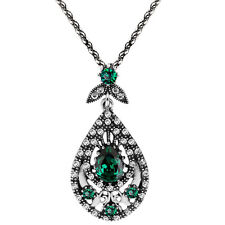 Vintage Style Emerald Green Silver Teardrop Pendant Corn Chain Necklace N490