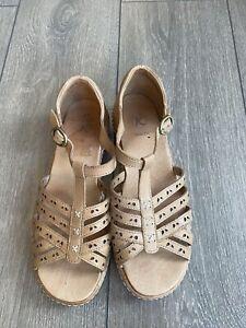 Ladies K Wide Fit Tan Buckle Sandals Size 6 E