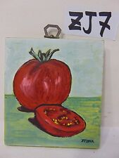 ORIGINAL SIGNED FOLK ART PAINTING ON WOOD PJ BICK MID CENTURY FOOD RETRO TOMATO