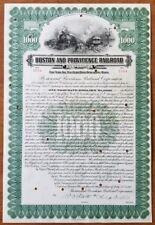 1918 Boston & Providence Railroad Bond Stock Certificate