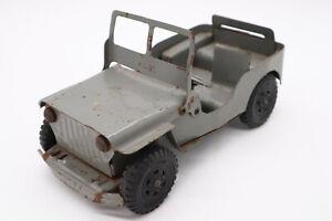 Vintage Lumar Marx Willys Jeep Pressed Steele Metal Toy 1950's Gray W/ Engine