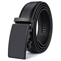 Men's Solid Leather Belt with 35mm Wide Automatic Buckle Ratchet Waist Strap