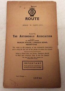 """Vintage AA (Automobile Association) Route Planner """"Bromley To France Lynch"""" 108m"""