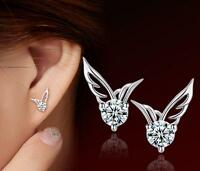 Crystal 925 Sterling Angel Wings Ear Butterfly Stud Silver Ladies Girls Earrings