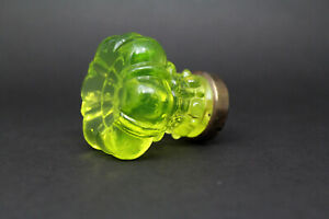 ANTIQUE GLASS DOOR KNOB LIGHT GREEN URANIUM Flower hexagon Pulls Handles