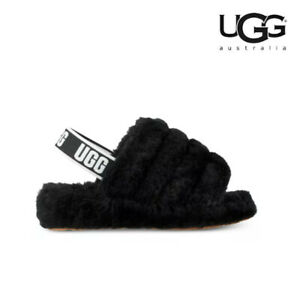 WOMEN'S UGG CLASSIC FLUFF YEAH 1095119 BLK SLIDE SLIPPERS  SALE 100% AUTHENTIC