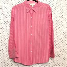 Casual Corner XL Blouse Pink White Striped Button Down Easy Care Stretch Work