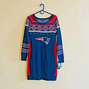 NFL New England Patriots Women's Sweater Dress Klew Large New