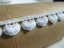 LC20#1 white small heart scallop fringe cotton sewing lace/trim 1cm x2yards