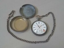 cased - works but needs a service Antique c.1890 men's Pocket Watch - pair