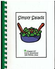 *DES MOINES IA 2001 SIMPLY SALADS COOK BOOK *P.E.O. CHAPTER KT *IOWA RECIPES