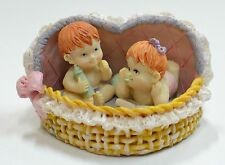 Babies in Heart Basket Resin Figurine As Pictured, 85mm w, 75mm d, 50mm h (B1) 2