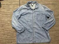 J Jill Denim Out of The Blue Women's Small Petite Button Up Denim Shirt Cotton