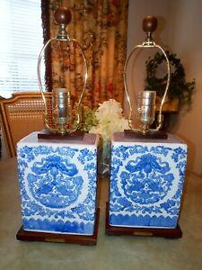 2 (TWO)Ralph Lauren Blue & White Porcelain Asian Koi Fish Table Lamps