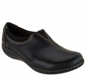 Clarks Collection Leather Slip-On Shoes- Ashland Joy Black NIB