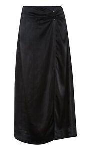 Ganni Black Heavy Viscose-Satin High-Slit A-Line Midi Skirt. EU 42/UK 16